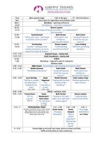 Timetable Happy Teens Wellbeing Weekender